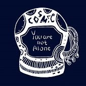 stock photo of cosmic  - Hand drawn Astronaut Cosmic doodle with lettering  - JPG