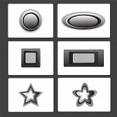 pic of star shape  - metal button collection vector illustration set showing round shape rectangular shape and star shape - JPG