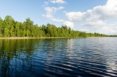 pic of bent over  - White clouds on the blue sky over blue lake with reflections - JPG