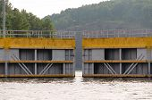 picture of lock  - Lock doors opening at a lock on the Warrior River in Alabama - JPG