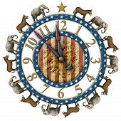 pic of clocks  - Election countdown clock elephants and donkeys representing the Democratic and Republican parties - JPG