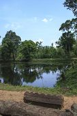 image of ziggurat  - Angkor Wat water and ruins in Cambodia - JPG