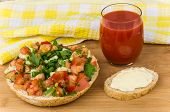 pic of tomato sandwich  - Bread with chopped vegetables and herbs tomato juice sandwich on the table - JPG