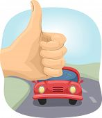 foto of riding-crop  - Cropped Illustration of a Person Doing the Hitchhiking Sign - JPG