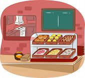 foto of bakeshop  - Illustration Featuring the Counter of a Cafeteria - JPG