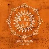 pic of occult  - Vector geometric alchemy symbol with sun - JPG