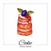 stock photo of cream cake  - Vector illustration - JPG