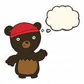 picture of crazy hat  - cartoon black bear wearing hat with thought bubble - JPG