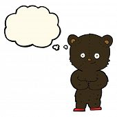 picture of bear cub  - cartoon teddy black bear cub with thought bubble - JPG