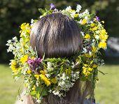 stock photo of headgear  - Swedish Midsummer Headgear Traditional on a female head of hair - JPG