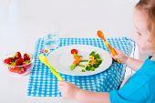 foto of vegetarian meal  - Healthy vegetarian lunch for little kids - JPG