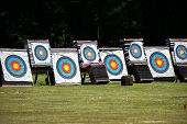 picture of archery  - Archery targets at the range outside in a field - JPG