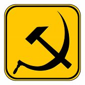 stock photo of hammer sickle  - Hammer and sickle sign button on white background - JPG