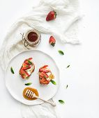 picture of french-toast  - French toasts with strawberry - JPG