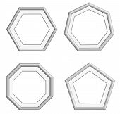 foto of heptagon  - beautiful edge silver frame for collection image picture gallery and decoration vector set - JPG