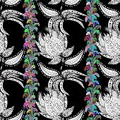 picture of lilas  - Seamless floral vivid pattern with colorful flowers on black - JPG