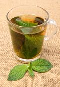 pic of mint-green  - Fresh natural green mint and cup of beverage lying on burlap texture mint brewed in cup concept for healthy nutrition - JPG