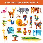pic of african animals  - Set of vector flat design african icons and infographics elements with animals - JPG