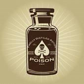 stock photo of poison  - Vintage Retro Bottle of Poison Illustration - JPG