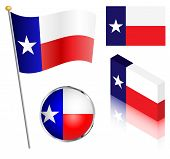 stock photo of flag pole  - State of Texas flag on a pole badge and isometric designs vector illustration - JPG