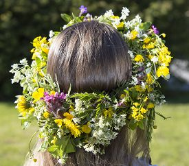 picture of headgear  - Swedish Midsummer Headgear Traditional on a female head of hair - JPG