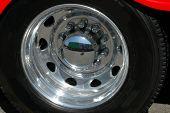 image of semi-truck  - big rig tire and rim - JPG