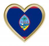 Постер, плакат: Guam flag in golden heart isolated on white background 3D illustration