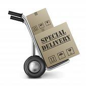 Постер, плакат: Специальная картонная коробка мешок грузовика