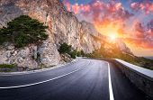 Asphalt Road. Colorful Landscape With Beautiful Winding Mountain Road poster