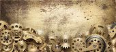 Mechanical collage made of clockwork gears poster