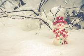 Merry Christmas! Winter Christmas Background With Festive Snowman Wearing A Red Hat, Winter Landscap poster