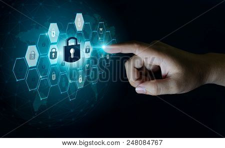 poster of Button On Virtual Screen Pressed With Finger Global Network Security World Map Key Lock Security Sys