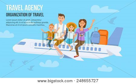 poster of Traveling Family On Vacation. Family Travel. Father, Mother, Son And Daughter At Airport. Happy Fami
