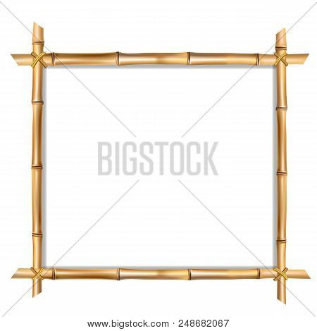 poster of Square Brown Wooden Border Frame Made Of Realistic Brown Bamboo Sticks With Empty Copy Space For Tex