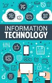 Information Technology And Internet Search Content Poster For Social Network And Communication. Vect poster