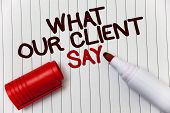 Conceptual Hand Writing Showing What Our Client Say. Business Photo Showcasing Customers Feedback Or poster