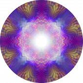 Vibrant Eastern Meditation Mandala - 8 Piece Symmetrical Circular Pink Purple Blue And Orange Highly poster
