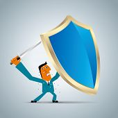 Businessman Holding A Shield And A Sword,firewall Design Concept. poster