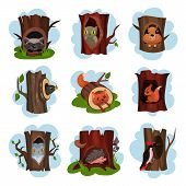 Cute Animals And Birds Sitting In Hollow Of Trees Set, Hollowed Out Old Trees With Fox, Owl, Hedgeho poster