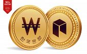 Neo. Won. 3d Isometric Physical Coins. Digital Currency. Korea Won Coin. Cryptocurrency. Golden Coin poster
