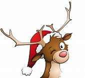 picture of roebuck  - Illustration of a reindeer with a christmas cap on - JPG