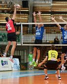 KAPOSVAR, HUNGARY - OCTOBER 29:Balint Magyar (blue 6) in action at a Hungarian National Championship