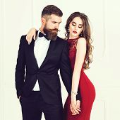 Sexual Passionate Couple In Elegant Evening Clothes. Luxurious Interior. Fashion Shot. Woman Feeling poster