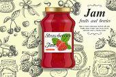 Strawberry Jam Ads. Vector Realistic Strawberry Jam Glass Jar And Hand Drawn Fresh Strawberry, Cherr poster