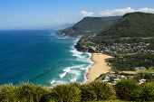 View Of The Coastline  Of Stanwell Park From Bald Hill Lookout, New South Wales, Australia poster
