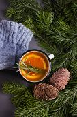 Taiga Tea With Orange And Spices, Winter Or Autumn Cozy Background, Fir Tree, Copy Sopace poster