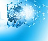 Molecules and globus in hand, Molecular medical, ecology abstraction in hand. Virus and planet Earth poster