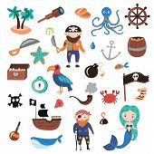 Set Of Pirates Vector Cartoon Objects. Adventures And Pirate Party For Kindergarten. Children Advent poster