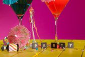 Cocktail Party. Celebration Fun In This Colorful Party Invitation Image. Word Spelling Party With Co poster
