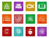 A Set Of Christian Religious Icons And Symbols Including Christian Fish, Crosses And Others poster